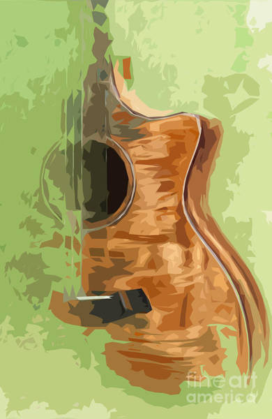 Acoustic Bass Wall Art - Digital Art - Guitar Green Background 1 by Drawspots Illustrations
