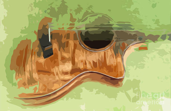 Acoustic Bass Wall Art - Digital Art - Guitar Green Background 3 by Drawspots Illustrations