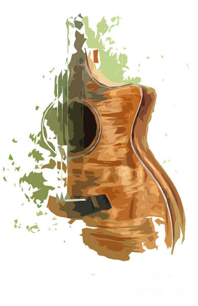 Acoustic Bass Wall Art - Digital Art - Guitar Green Background 4 by Drawspots Illustrations
