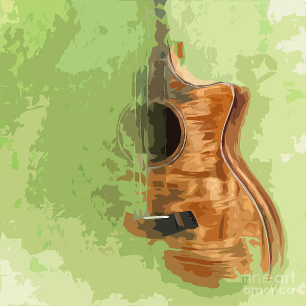 Acoustic Bass Wall Art - Painting - Guitar Green Background 5 by Drawspots Illustrations