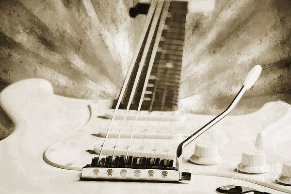 Painting - Guitar In Flight Painting Photograph In Sepia 3316.01 by M K Miller