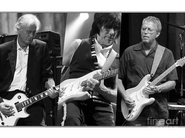 Rock And Roll Jimmy Page Wall Art - Mixed Media - Guitar Legends Jimmy Page Jeff Beck And Eric Clapton by Marvin Blaine