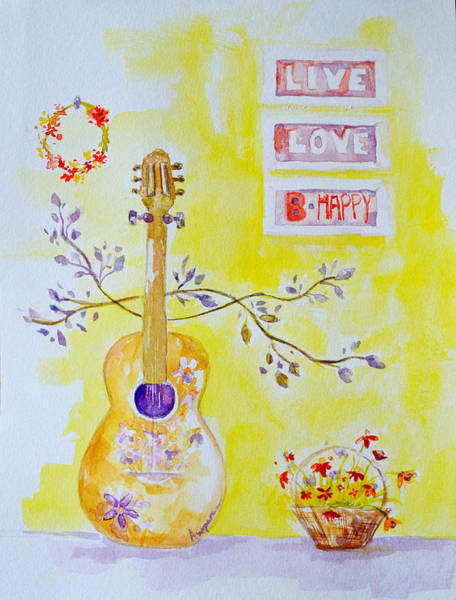 Musical Theme Painting - Guitar Of A Flower Girl Live Love Be Happy by Patricia Awapara