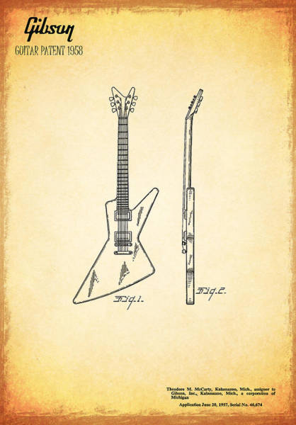 Wall Art - Photograph - Guitar Patent 1958 by Mark Rogan