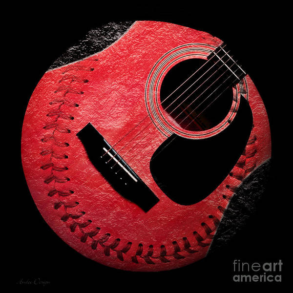 Digital Art - Guitar Strawberry Baseball by Andee Design