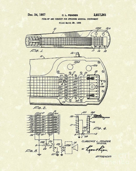Drawing - Guitar System 1957 Patent Art by Prior Art Design