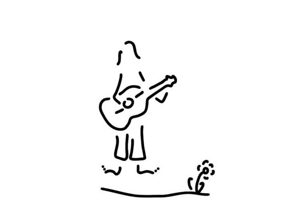 Lineart Drawing - Guitarist Of Flower Power by Lineamentum