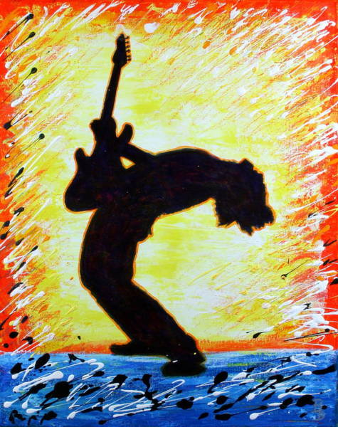 Painting - Guitarist Rockin' Out Silhouette by Bob Baker