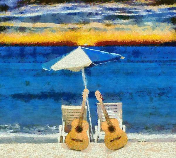 Painting - Guitars On The Beach At Sunset by Dan Sproul