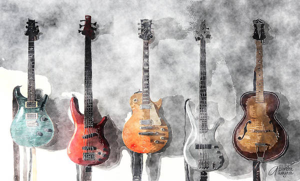 Electric Mixed Media - Guitars On The Wall by Arline Wagner