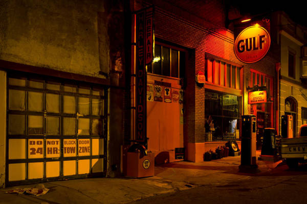 Filling Photograph - Gulf Oil Vintage Night Time Horizontal by Dave Dilli