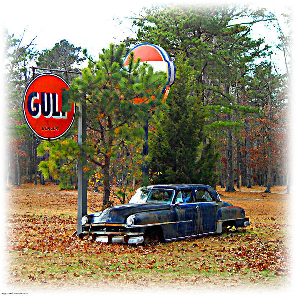 Digital Art - Gulf Station Old Chrysler by K Scott Teeters