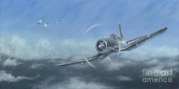 Corsair Painting - Gull Wings by Stephen Roberson
