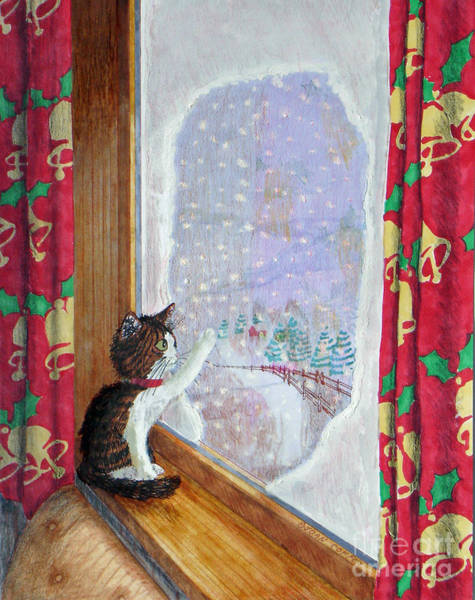 Painting - Gulliver And Snowflakes by Joan Coffey