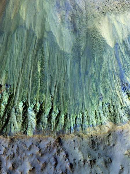 Gully Photograph - Gully Formations On Mars by Nasa