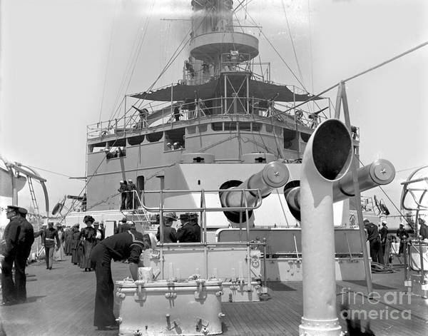 Photograph - aft gun turret of the USS Maine BB-10 circa 1908 by California Views Archives Mr Pat Hathaway Archives