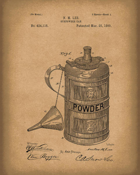Drawing - Gunpowder Can 1890 Patent Art Brown by Prior Art Design