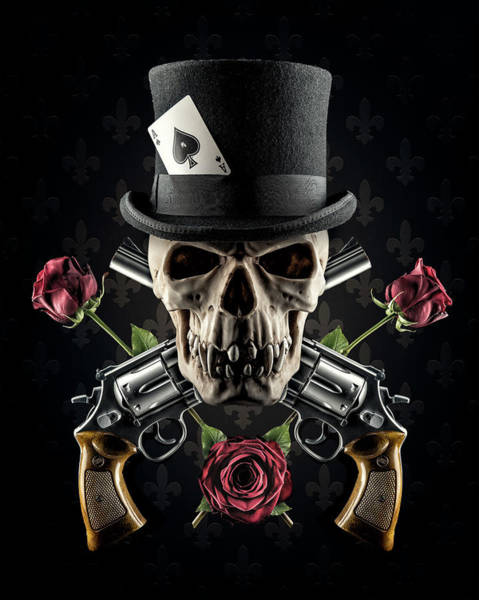 Revolver Photograph - Guns And Roses by Petri Damst??n