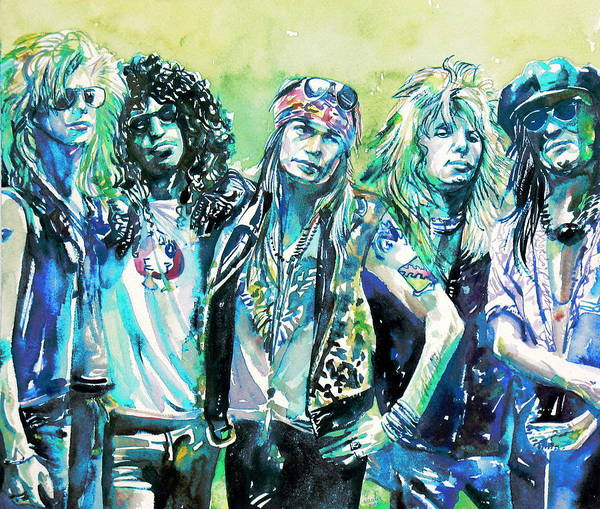 Guns And Roses Painting - Guns N' Roses - Watercolor Portrait by Fabrizio Cassetta