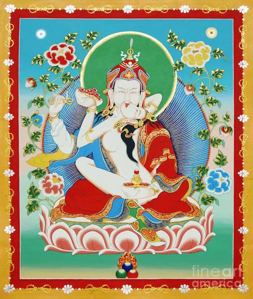 Thangka Painting - Guru Rinpoche Yab Yum by Sergey Noskov