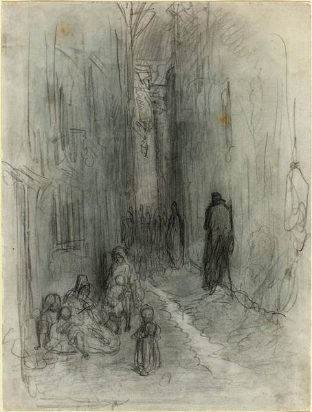 Dor Drawing - Gustave Doré French, 1832 - 1883, A Backstreet In London by Quint Lox