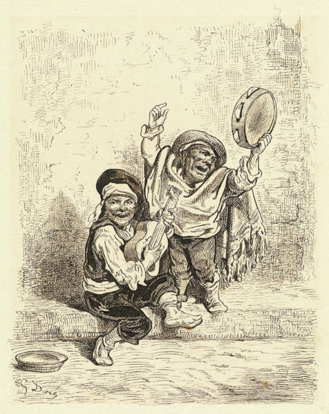Dor Drawing - Gustave Doré, French 1832-1883, Gypsy Children by Litz Collection