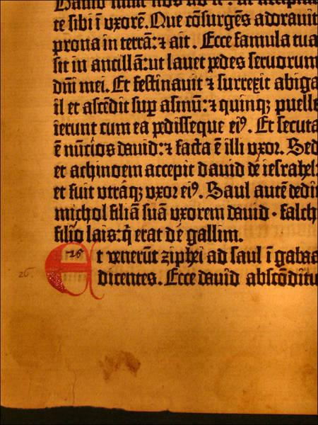 Photograph - Gutenberg Bible Leaf 5b - 1450-55 by Glenn Bautista