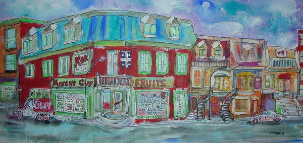 Quebec Flag Painting - Guy Market by Michael Litvack