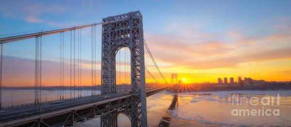Wall Art - Photograph - Gw Bridge Panorama Sunburst  by Michael Ver Sprill