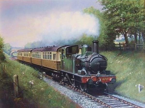Vintage Train Painting - Gwr 0.4.2t Engine. by Mike Jeffries