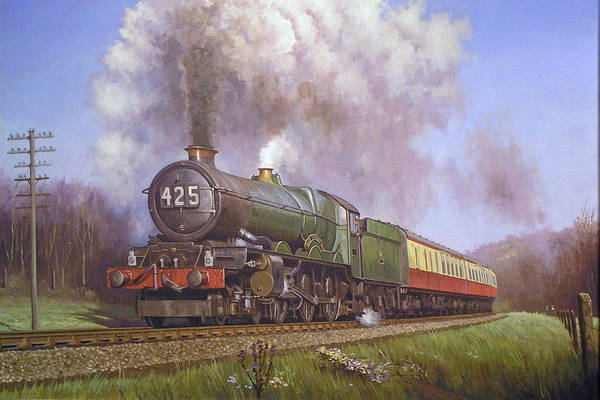 Vintage Train Painting - Gwr King Class On Dainton Bank. by Mike Jeffries
