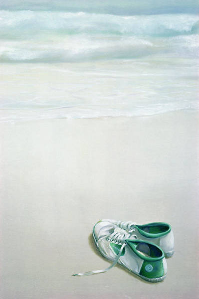 Flash Photograph - Gym Shoes On Beach by Lincoln Seligman