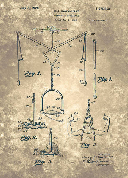 Painting - Gymnastic Appliance Patent From 1928 by Celestial Images