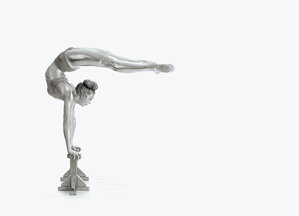 Silver Photograph - Gymnastics Series - Mexican Balance by Howard Ashton-jones
