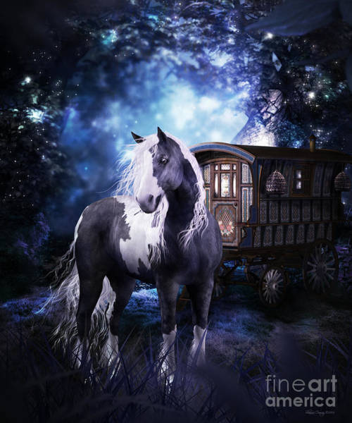 White Horse Digital Art - Gypsy Dreaming by Shanina Conway