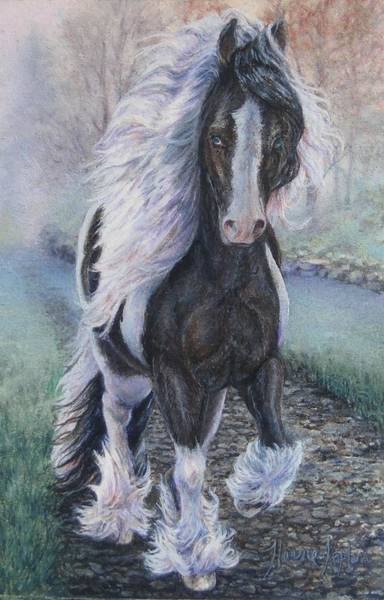 Foggy Morning Stroll Gypsy Horse  Art Print