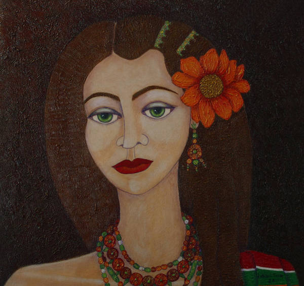Painting - Gypsy With Green Eyes by Madalena Lobao-Tello