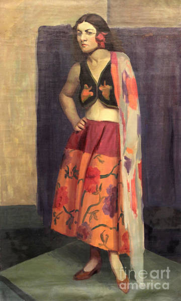 Painting - Gypsy With Shawl  1930 by Art By Tolpo Collection