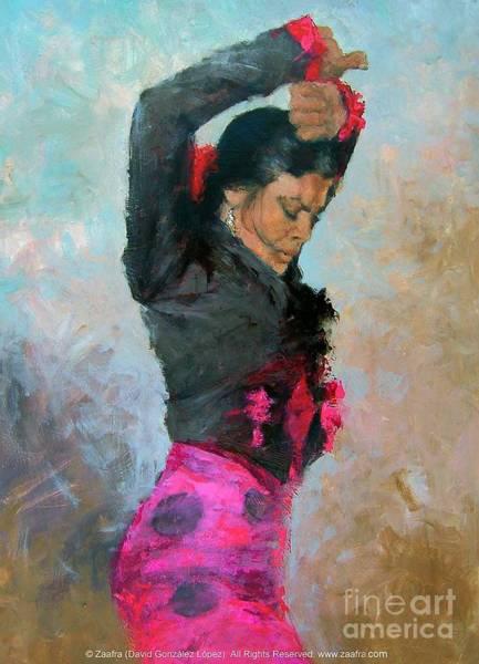 Gitana Wall Art - Painting - Gypsy Woman Dancing by Zaafra David