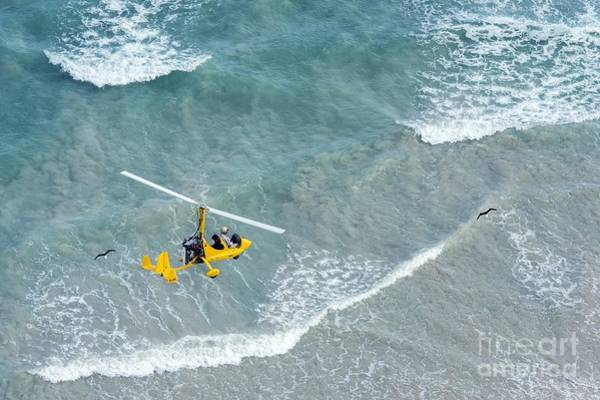 Copter Photograph - Gyrocopter In Flight by Peter Chadwick
