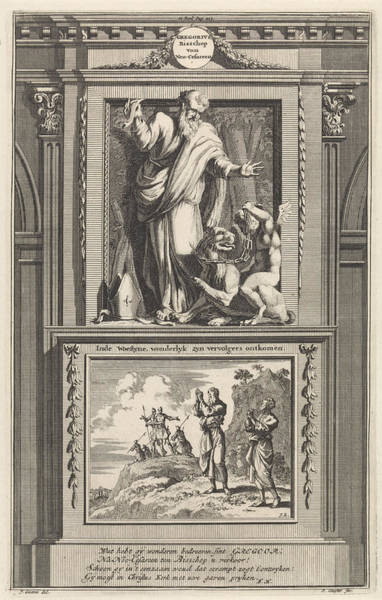 Devilish Drawing - H. Gregory Of Nyssa, Church Father, Jan Luyken by Jan Luyken And Zacharias Chatelain (ii) And Fran?ois Halma