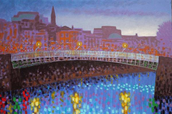 Wall Art - Painting - Ha Penny Bridge Dublin  Cropped by John  Nolan