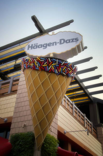 Wall Art - Photograph - Haagen Dazs Ice Cream Signage Downtown Disneyland 01 by Thomas Woolworth