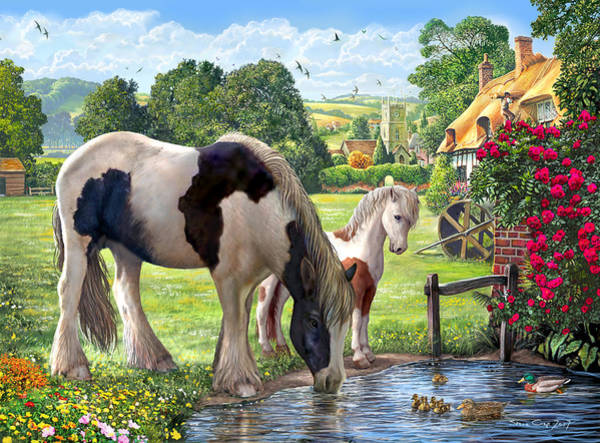 Wall Art - Painting - Hadlow Cricket Ground Ponies by MGL Meiklejohn Graphics Licensing
