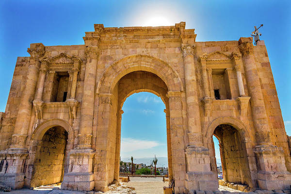 Jerash Photograph - Hadrian's Arch Gate, Jerash, Jordan by William Perry