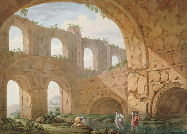 Crumble Drawing - Hadrians Villa, Near Tivoli by Charles Louis Clerisseau