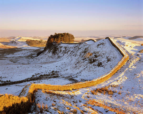 Roman Wall Photograph - Hadrian's Wall In Winter by Simon Fraser/science Photo Library