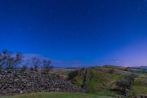 Greenhead Photograph - Hadrians Wall Near Walltown At Night by David Head