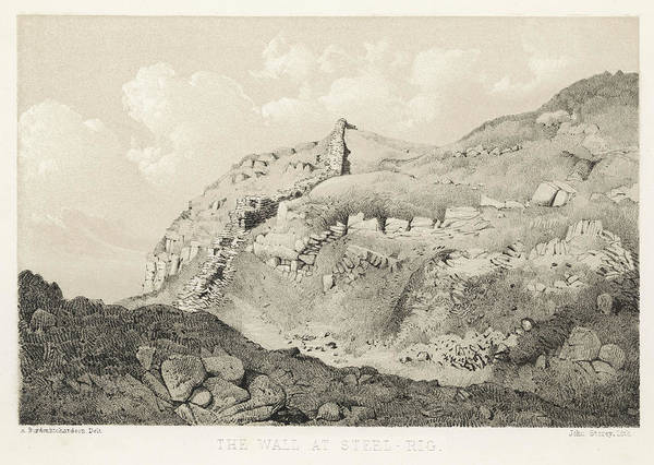 Steel Drawing - Hadrian's Wall Running Along The  Edge by Mary Evans Picture Library