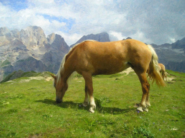 Painting - Haflinger Mare Grazing In Alpine Pasture Equ175189 by Dean Wittle